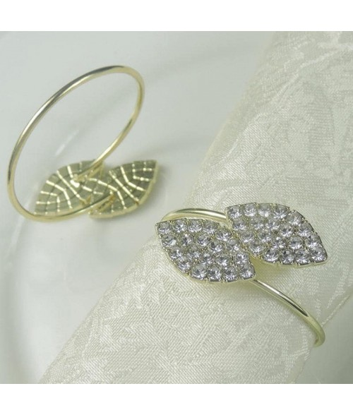 Auksinis servetėlės žiedas LAPAI baltomis kalnų krištolo akutėmis