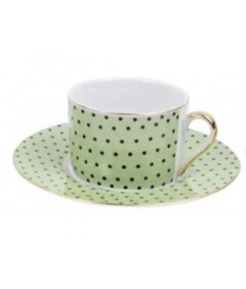 Žalias kavos puodelis su lėkštute MAXIM 7.5x16cm