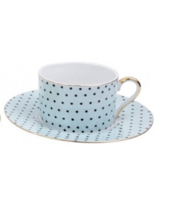 Mėlynas kavos puodelis su lėkštute MAXIM 7.5x16cm