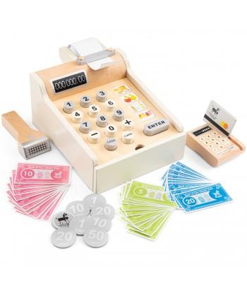 Vaikiškas medinis kasos aparatas