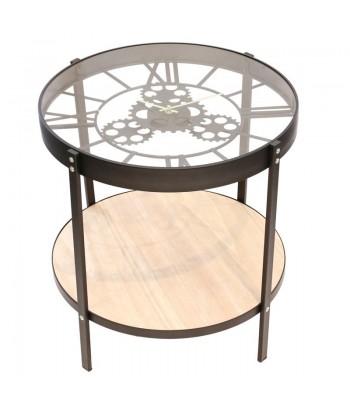 Kavos staliukas / laikrodis su medine lentynėle 51cm