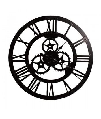 Juodas medinis sieninis laikrodis HORLOGE 70cm