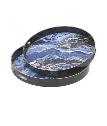 Apvalus mėlyno marmuro imitacijos padėklas auksine briauna M 35cm