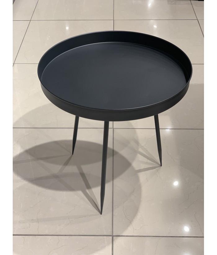 Metalinis juodos spalvos šoninis staliukas VALLICA BLACK 55cm