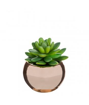Dirbtinis augalas rausvame apvaliame vazonėlyje 13cm
