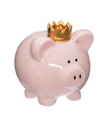 Rožinė kiaulė taupyklė auksine karūna 16cm