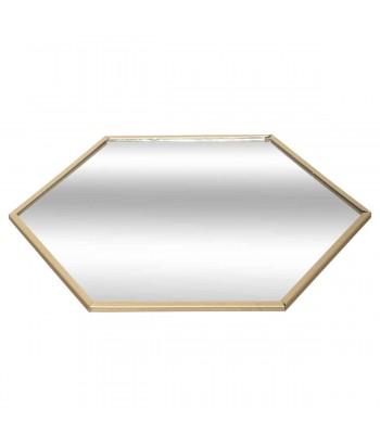 Veidrodinis padėkliukas žvakei aukso spalvos šešiakampiu metaliniu rėmeliu 20cm