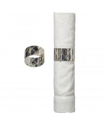 Sidabrines spalvos metalinis servetėlės žiedas CROISILLON