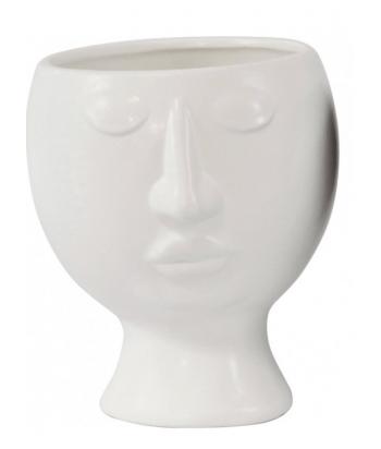 Baltas keramikinis vazonas LEANING HEAD 11x15cm