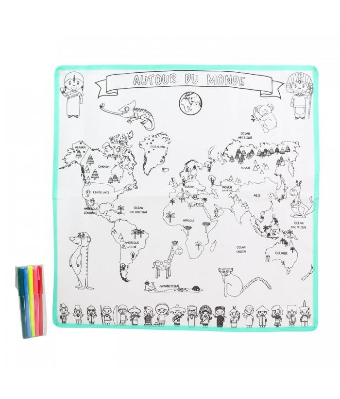 Spalvinamas kontūrinis žemėlapis ir flomasteriai 50x50cm. Nuvalomas kempinėle