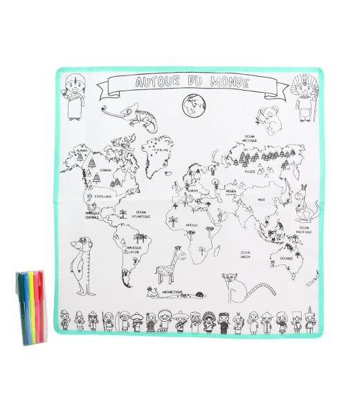 Spalvinamas kontūrinis žemėlapis ir flomasteriai 50x50cm
