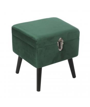 Žalias veliūrinis pufas / skrynia 40 x 33.5cm