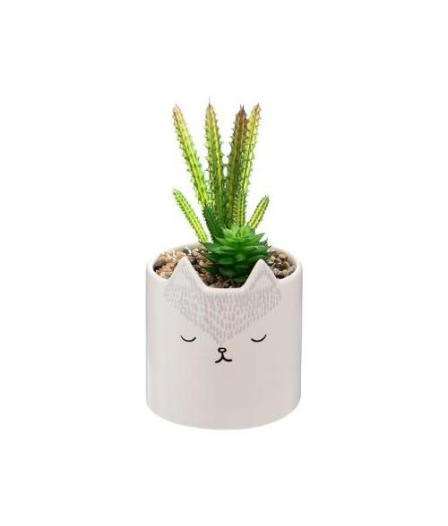 """Dekoratyvinis vazonas """"Lapė"""" su dirbtiniu augalu 9.8 x 20cm"""