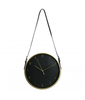 Juodas sieninis laikrodis odiniu dirželiu 30.5cm