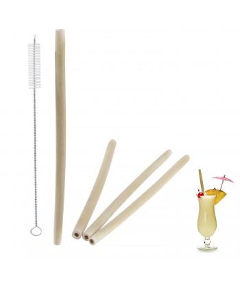 Bambukinių šiaudelių rinkinys su šepetėliu (4vnt).