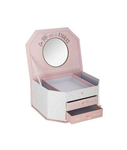 Bižuterijos dėžutė su veidrodžiu ir stalčiukais
